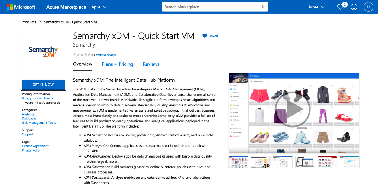 Semarchy xDM QuickStart VM in the Azure Marketplace